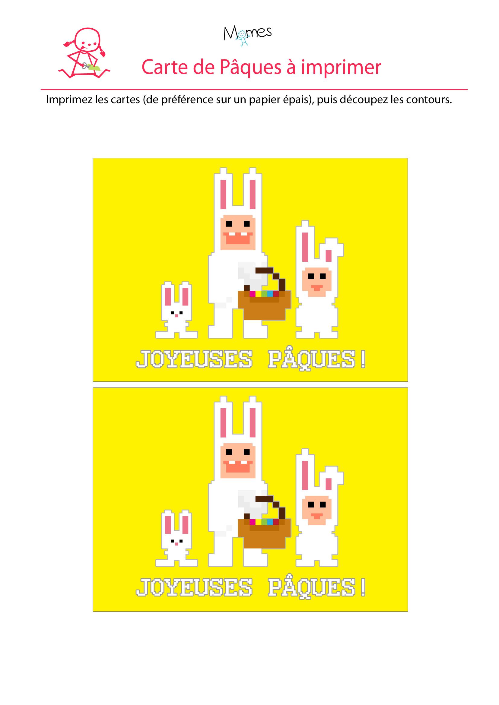 carte lapins de pâques à imprimer