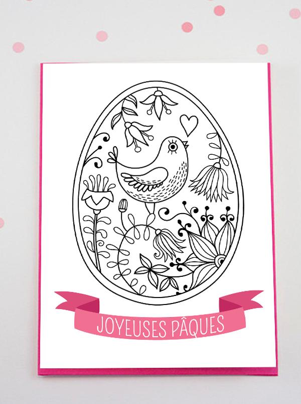 carte oeuf de paques à colorier