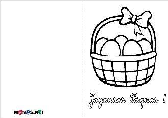 Carte de Pâques - Panier à colorier