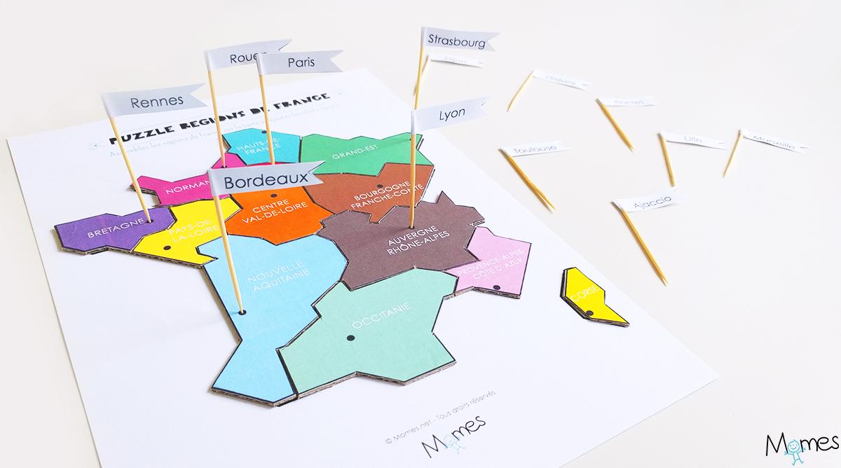 Carte Corse Gratuite Imprimer.Carte Des Regions De France A Imprimer En Puzzle Momes Net