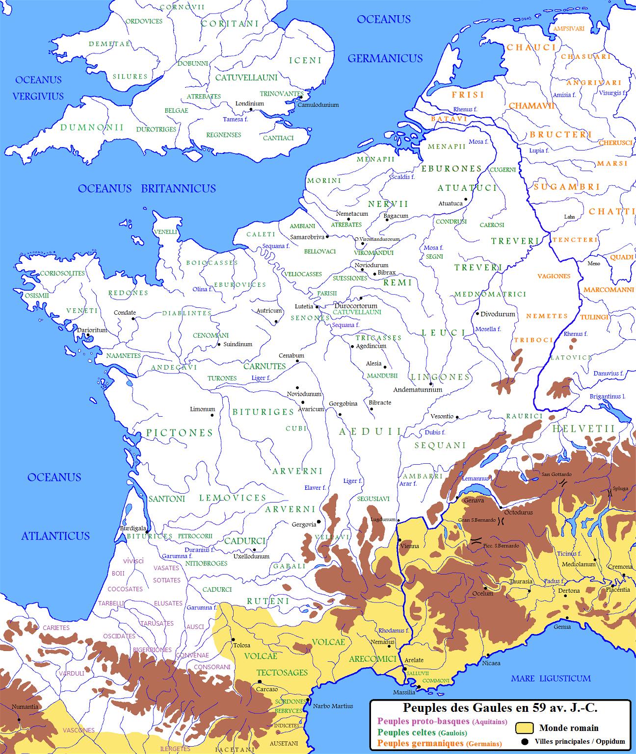 carte - peuples de Gaules en 59 avant JC