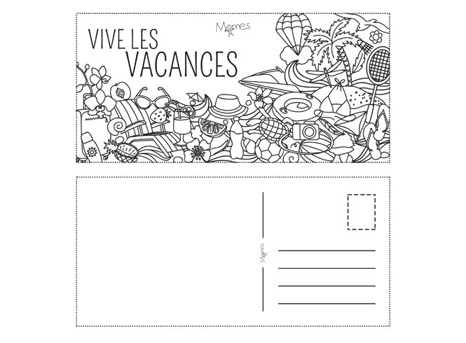 Carte postale de vacances à colorier
