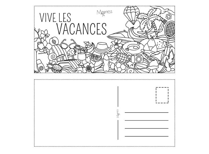 Carte Postale De Vacances à Colorier Momes Net