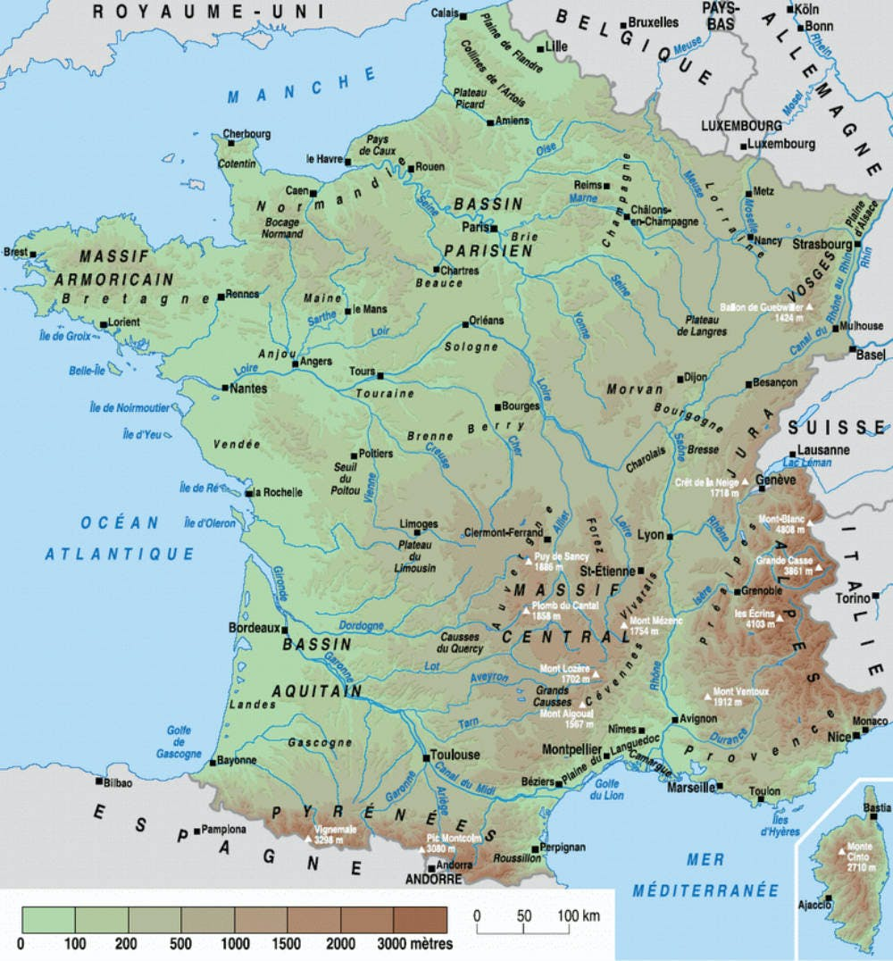 carte relief France