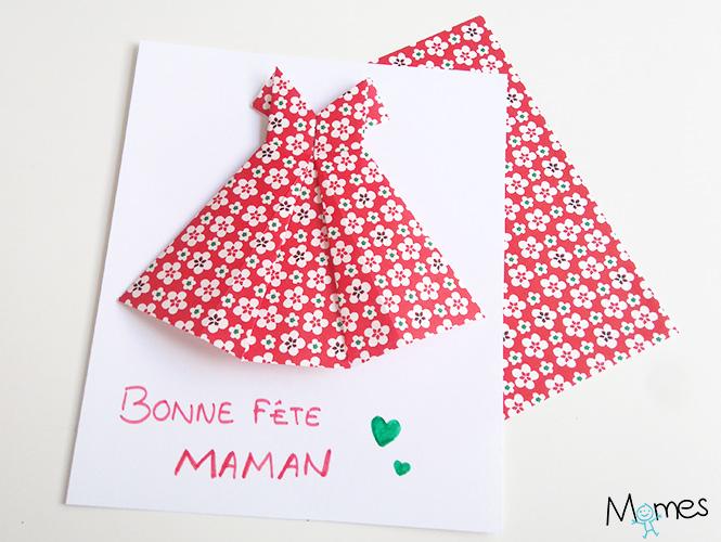 Carte f te des m res une robe en origami - Fabriquer un cadeau d anniversaire pour sa maman ...