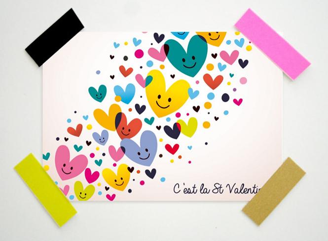 carte saint valentin coeurs multicolore