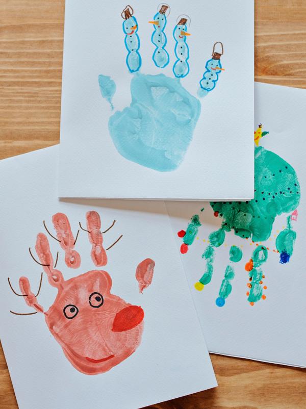 Cartes de Noël empreintes de mains