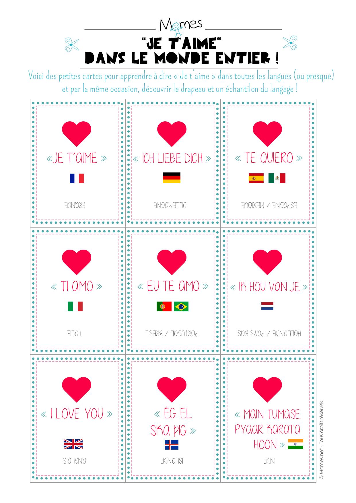 Cartes Quiz Quot Je T Aime Quot Dans Toutes Les Langues Momes Net