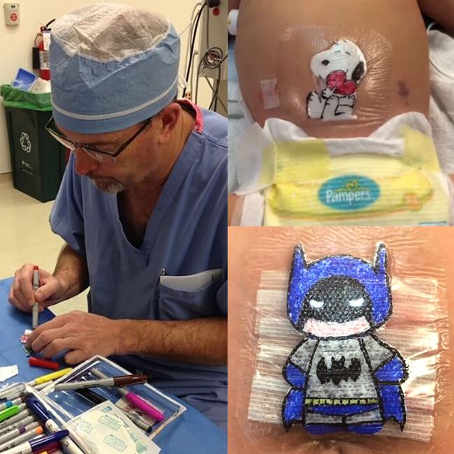 docteur robert parry chirurgien dessine sur pansements postoperatoires des enfants
