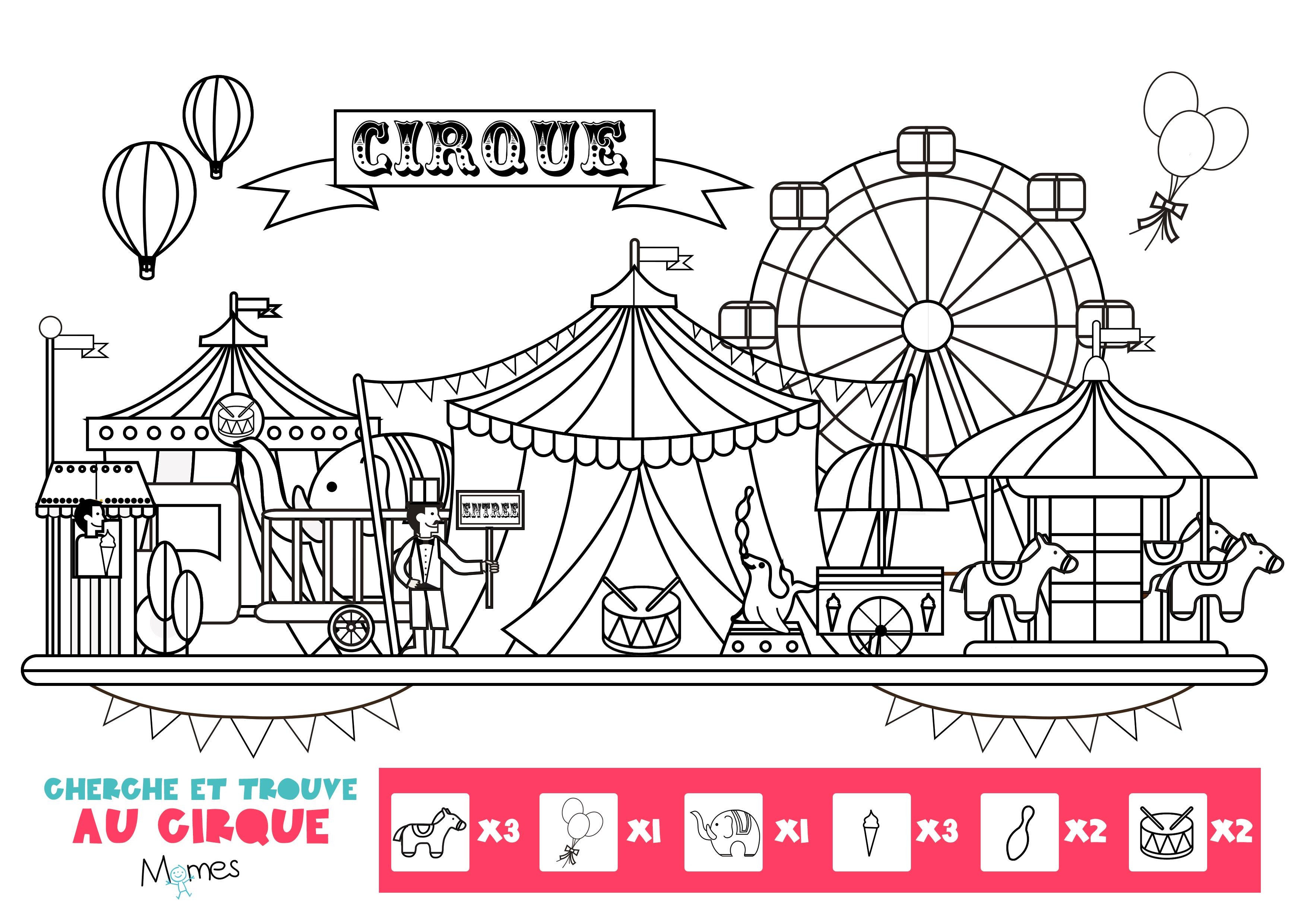 Cherche et trouve au cirque - Coloriages cirque ...