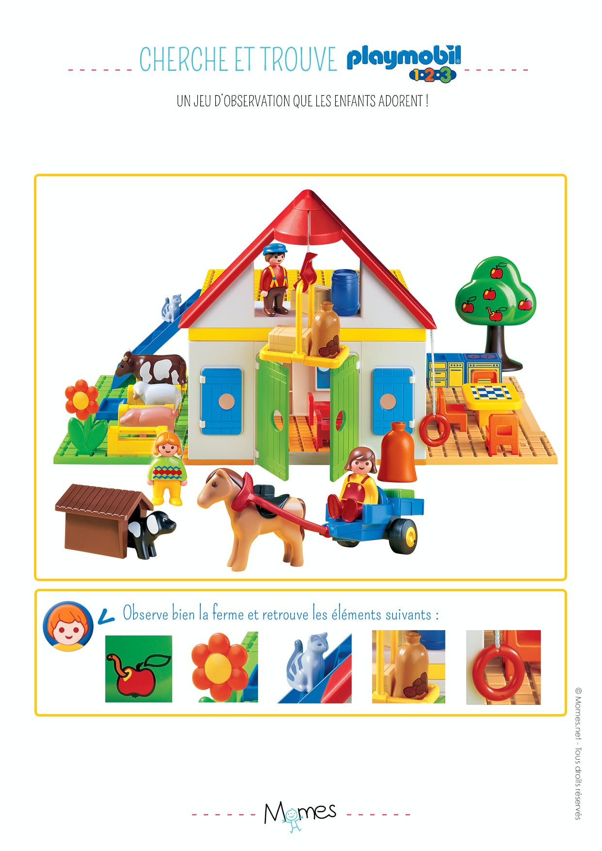 cherche et trouve la ferme playmobil 123. Black Bedroom Furniture Sets. Home Design Ideas