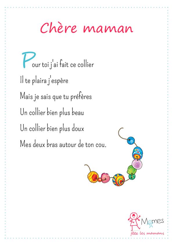 poeme fete des mères Chère maman