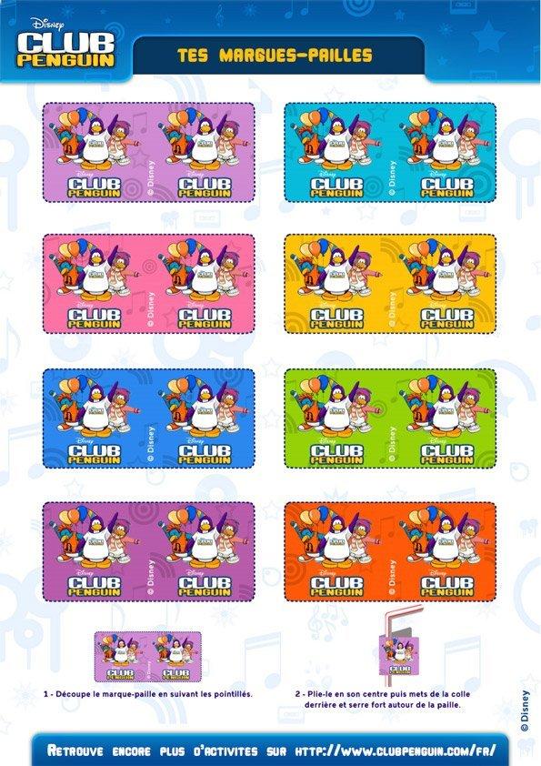 Club Pinguin : marques pailles à imprimer