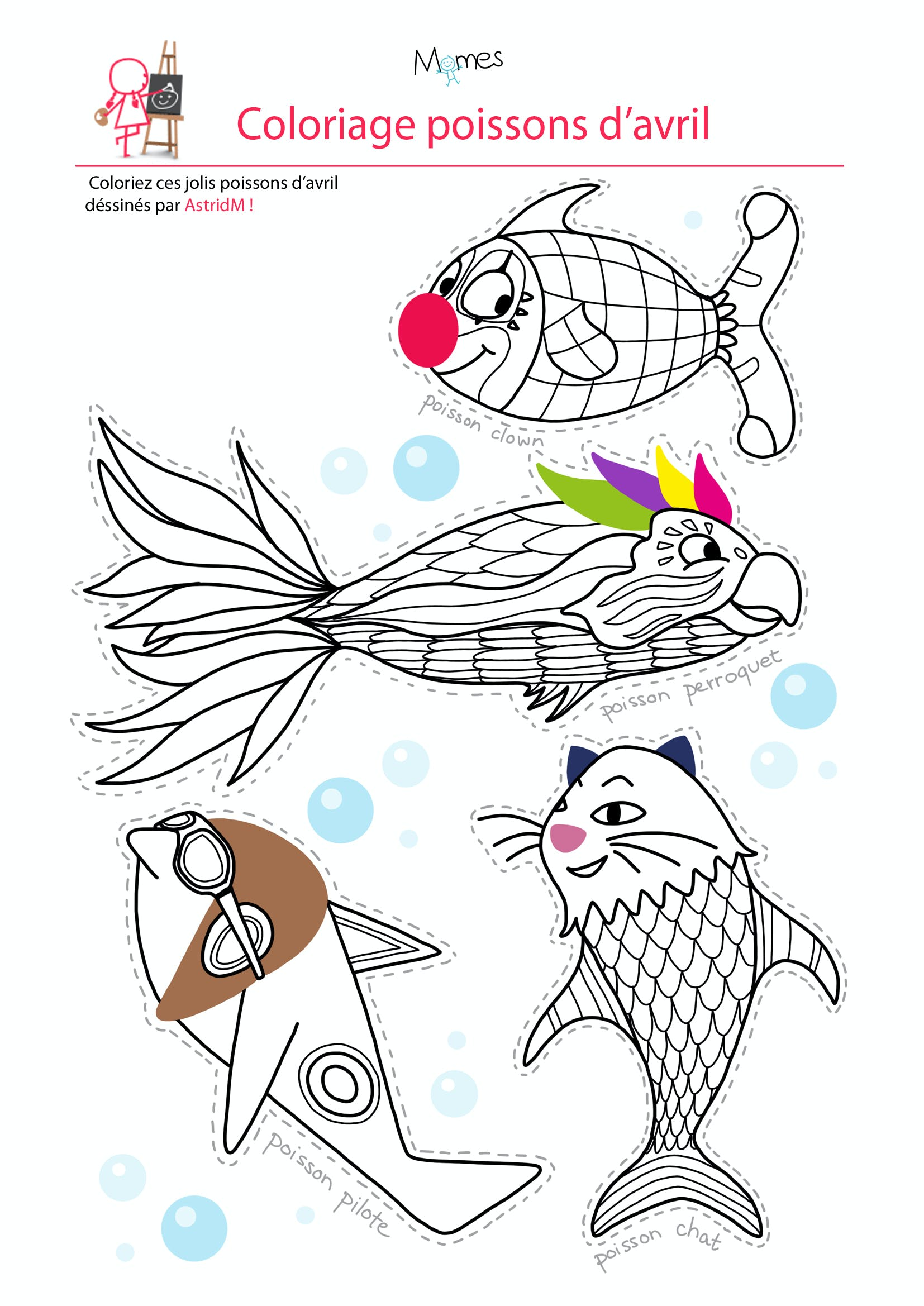 Coloriage 4 poissons d 39 avril - Poisson d avril dessin ...
