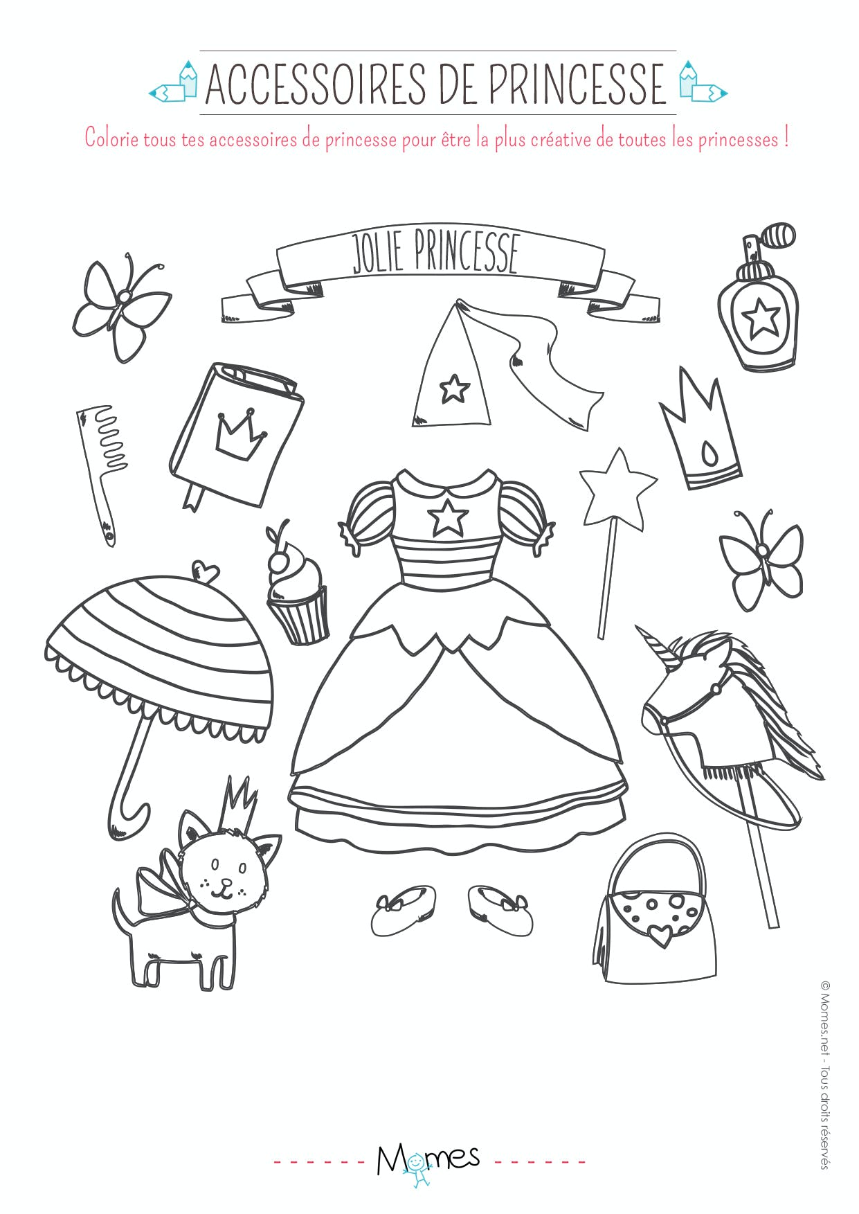 Coloriage Accessoires De Princesse Momes Net