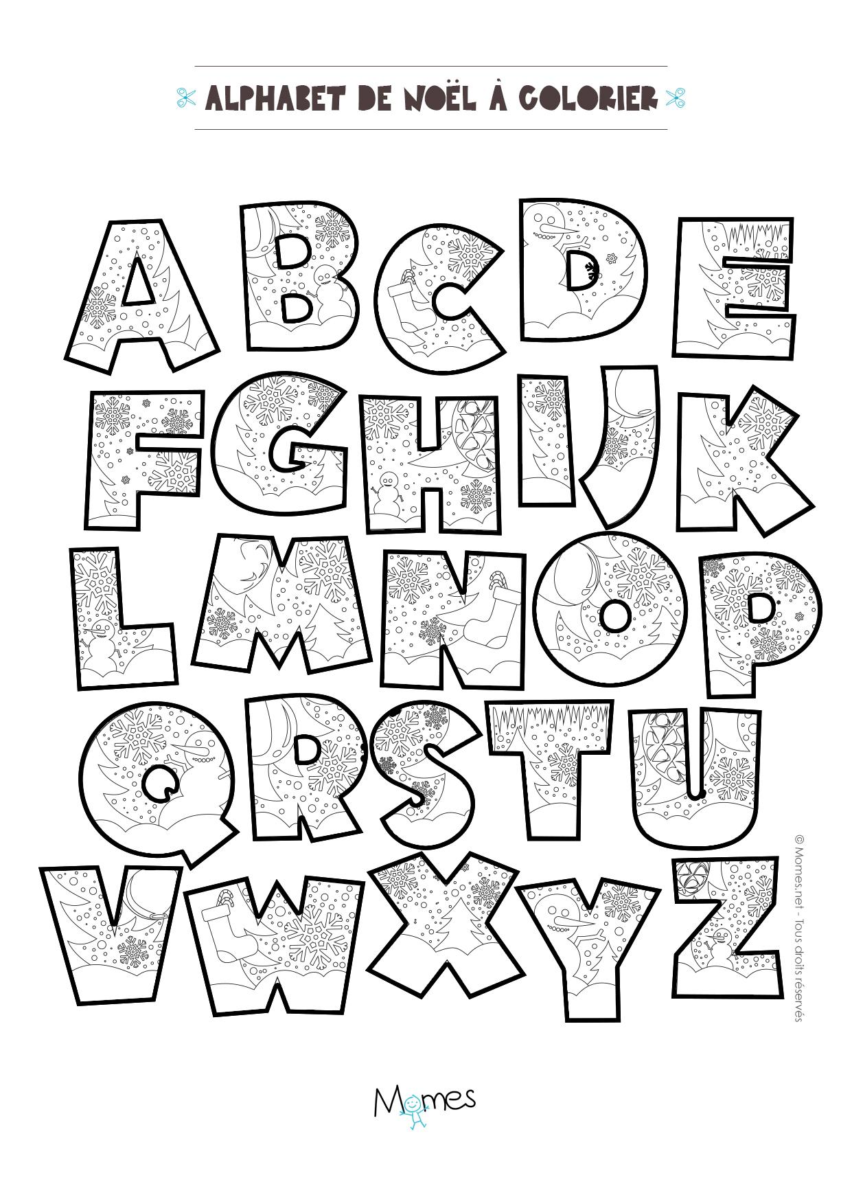 Coloriage Alphabet Francais.Coloriage Alphabet De Noel A Imprimer Momes Net
