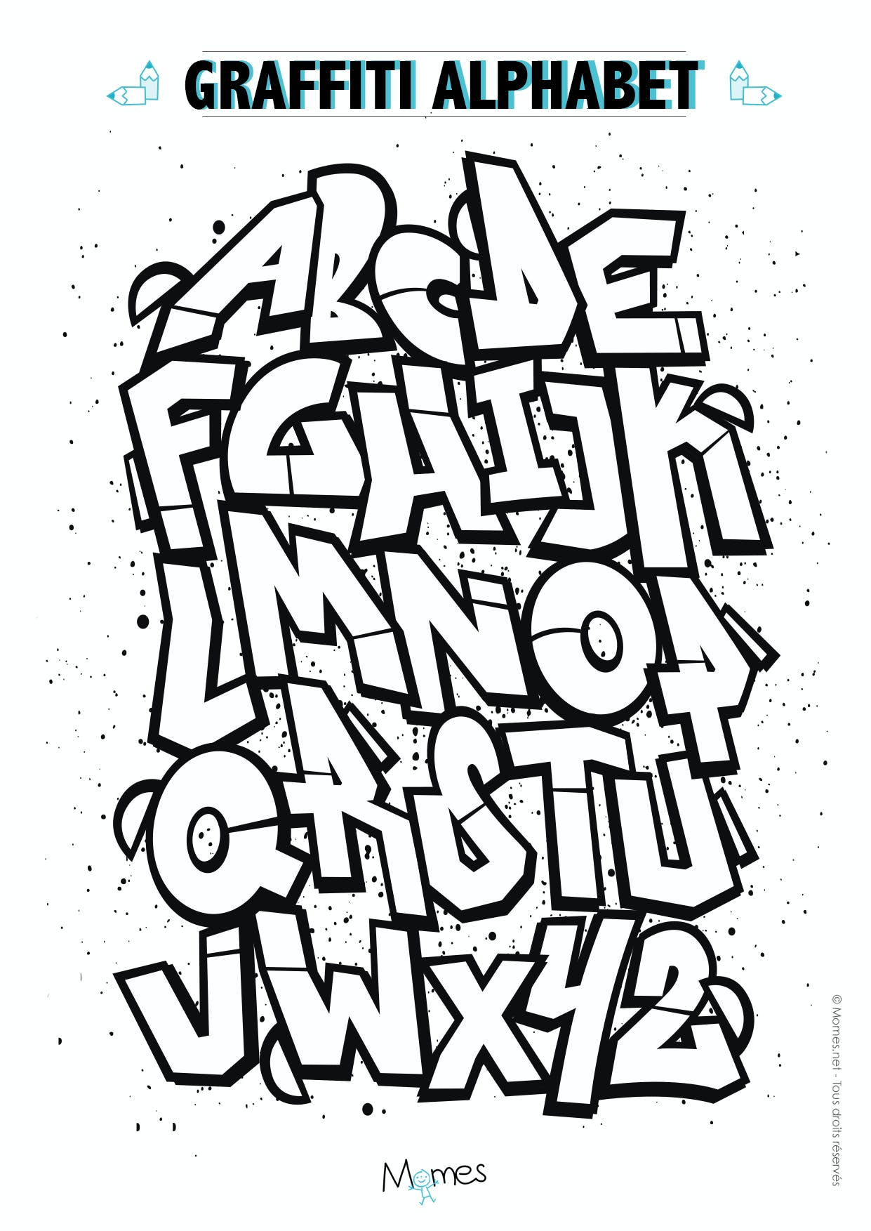 Coloriage alphabet graffiti - Alphabet dessin ...