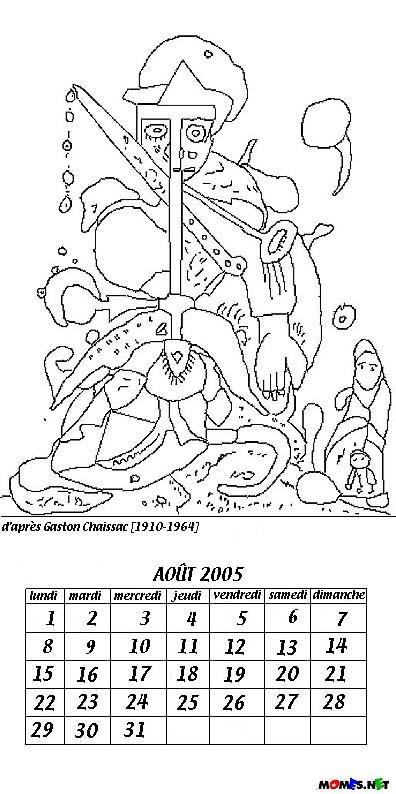 coloriage calendrier août 2006 Gaston Chaissac