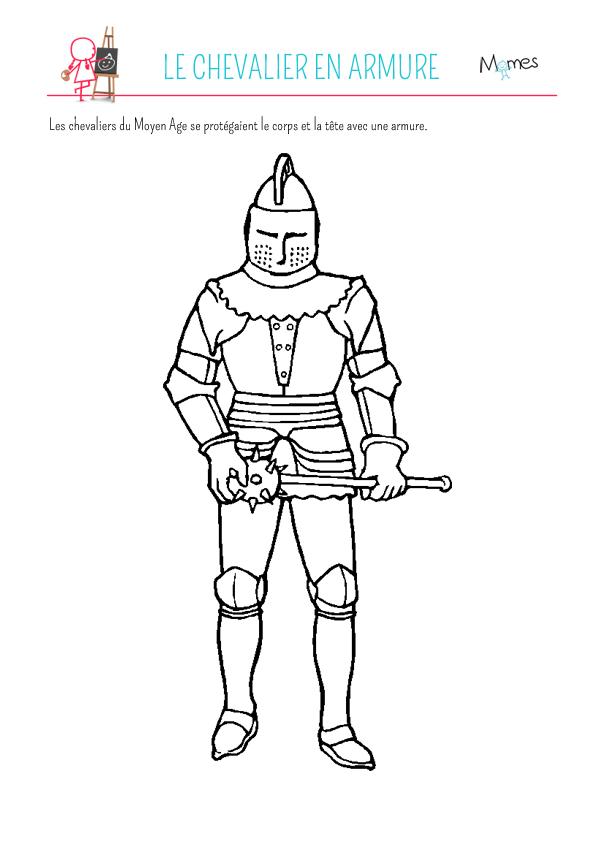 Coloriage armure de chevalier - Image du moyen age a imprimer ...