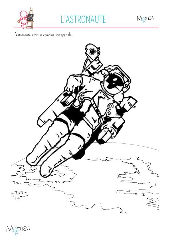 Coloriage astronaute dans l 39 espace - Dessin d astronaute ...
