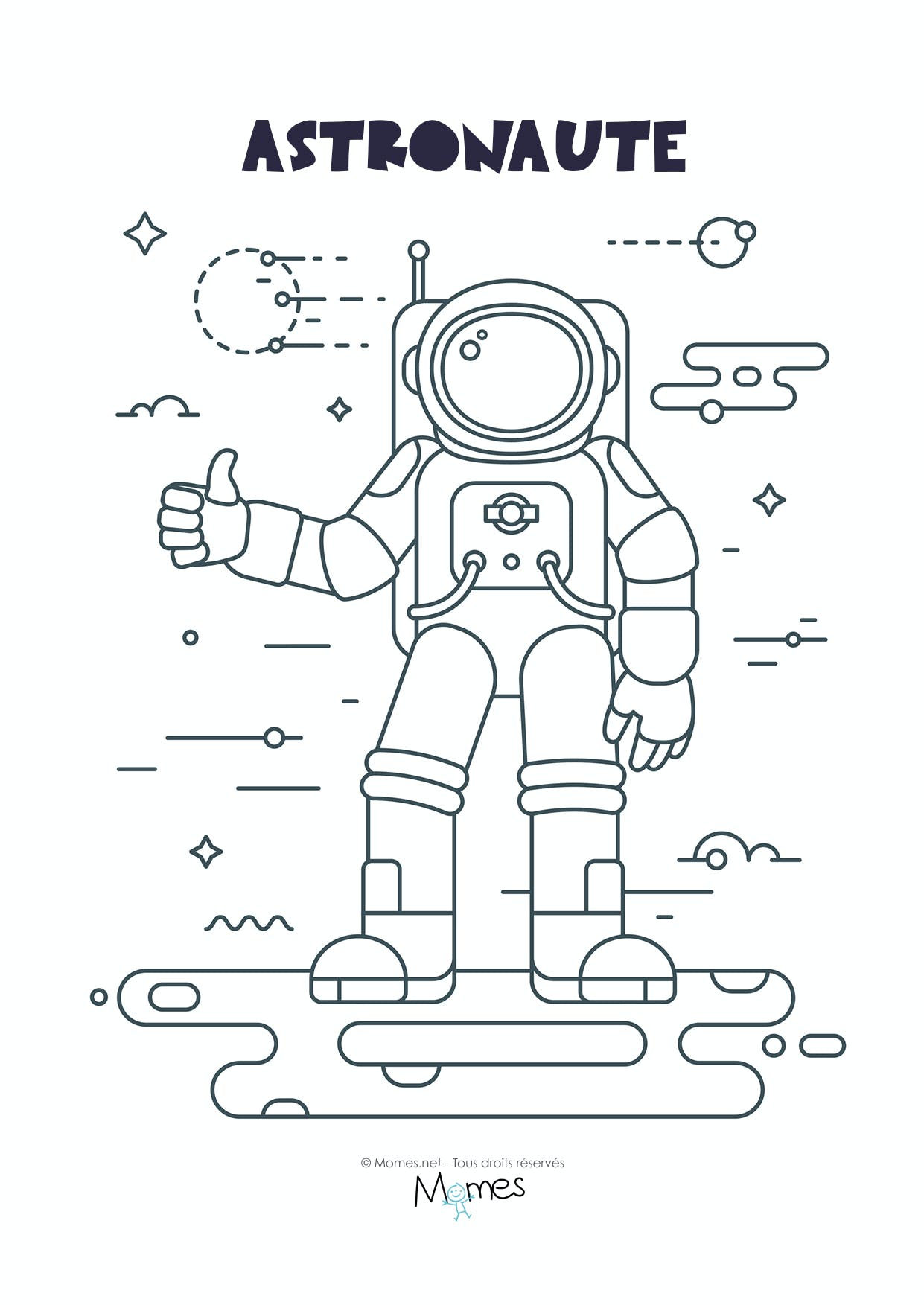 Coloriage Fusee Astronaute.Coloriage Astronaute Momes Net