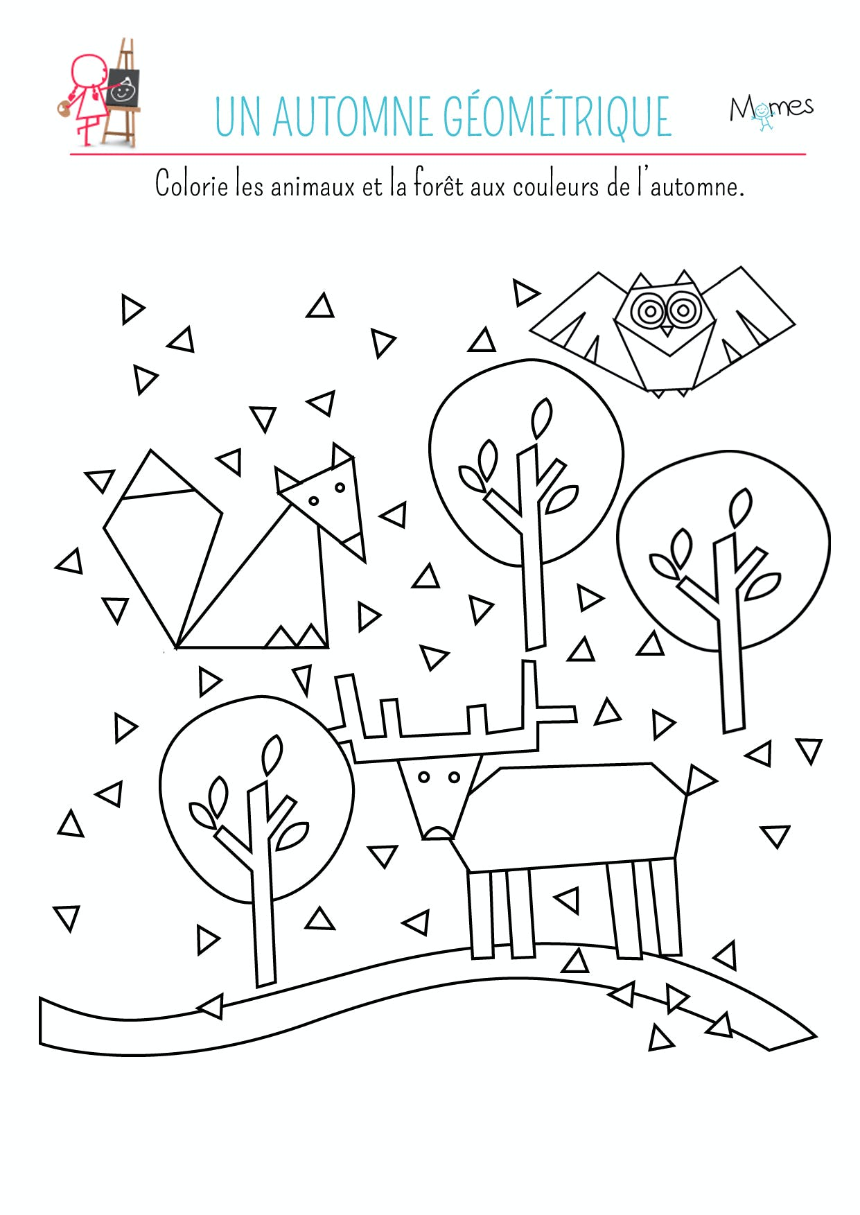 Coloriage automne géométrique à imprimer
