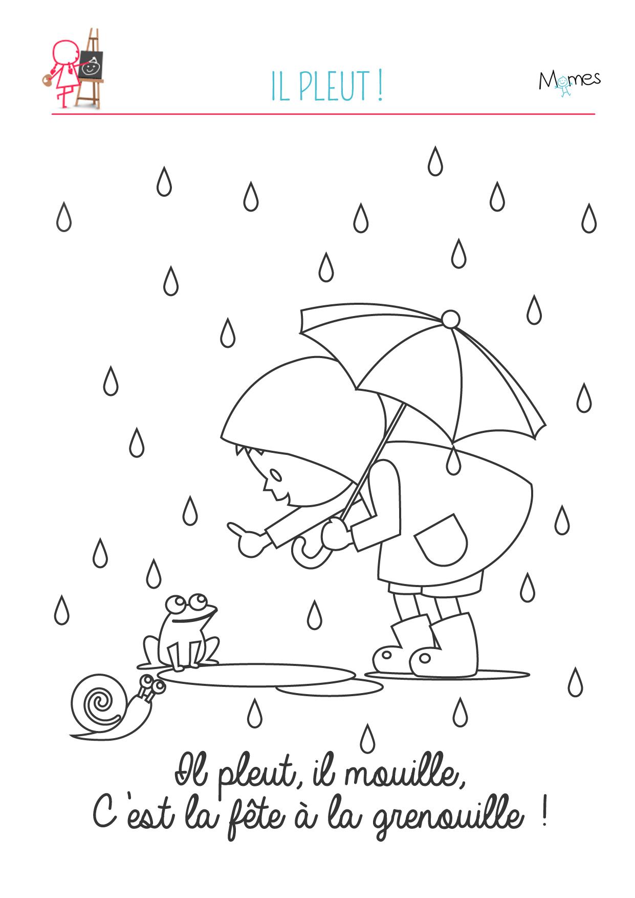 coloriage pluie grenouille à imprimer