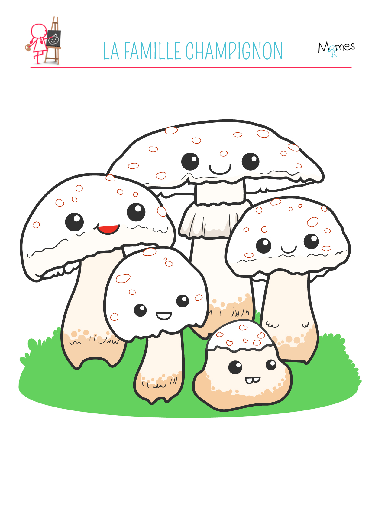 Coloriage automne la famille champignon - Dessin de champignons a imprimer ...