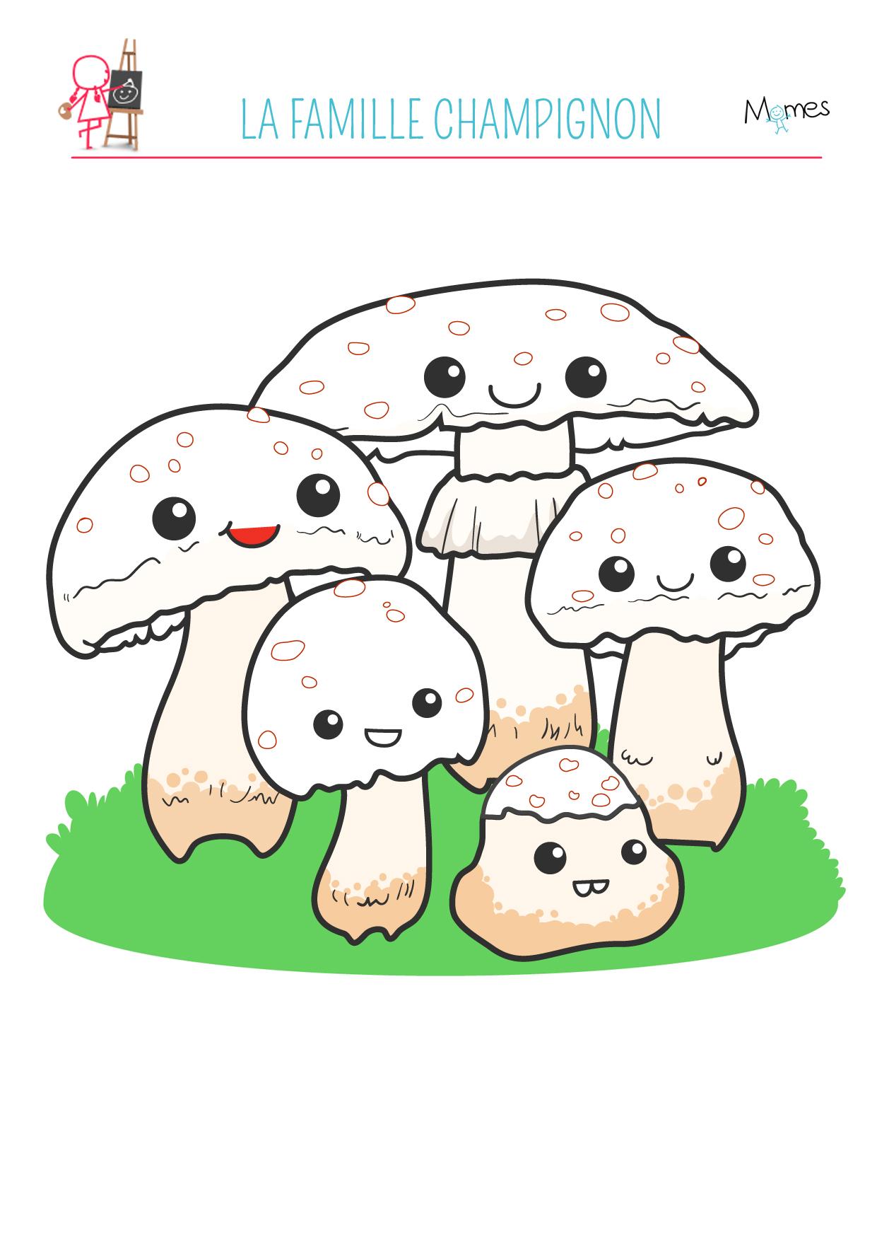 Coloriage automne la famille champignon - Image automne gratuite imprimer ...