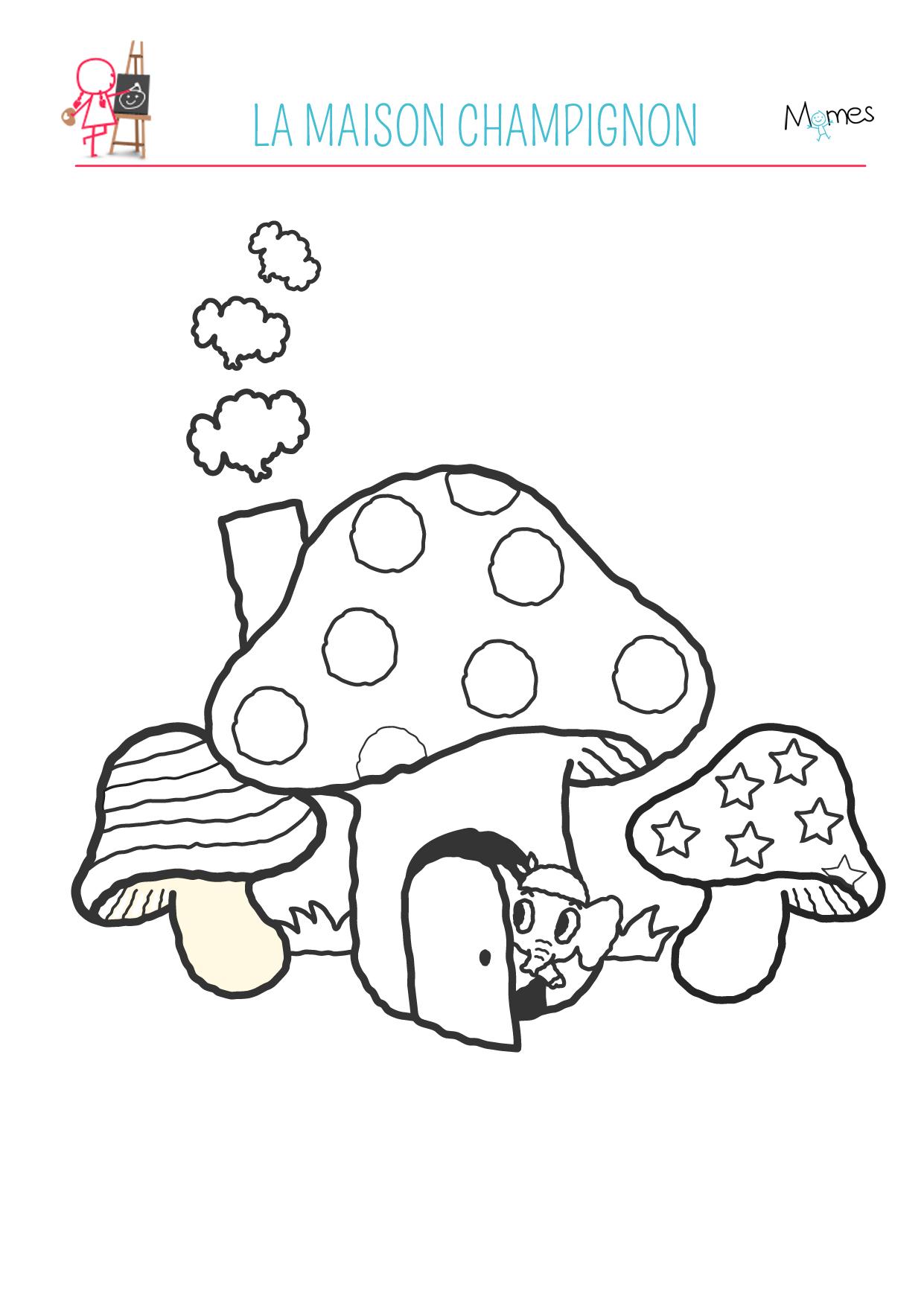 Coloriage automne : la maison champignon