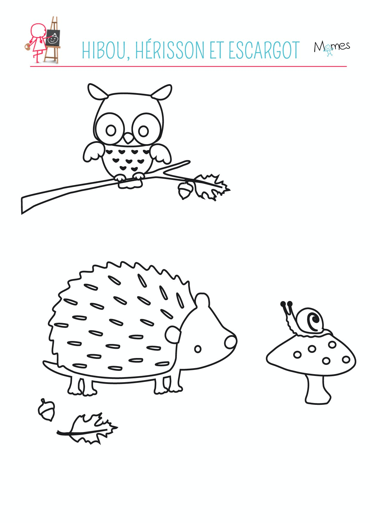 coloriage à imprimer hibou herisson escargot