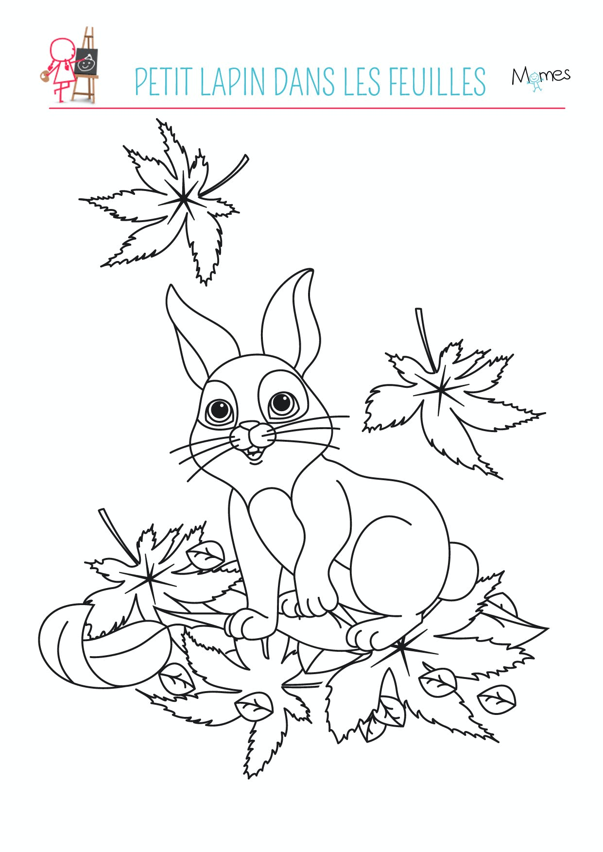 coloriage lapin automne