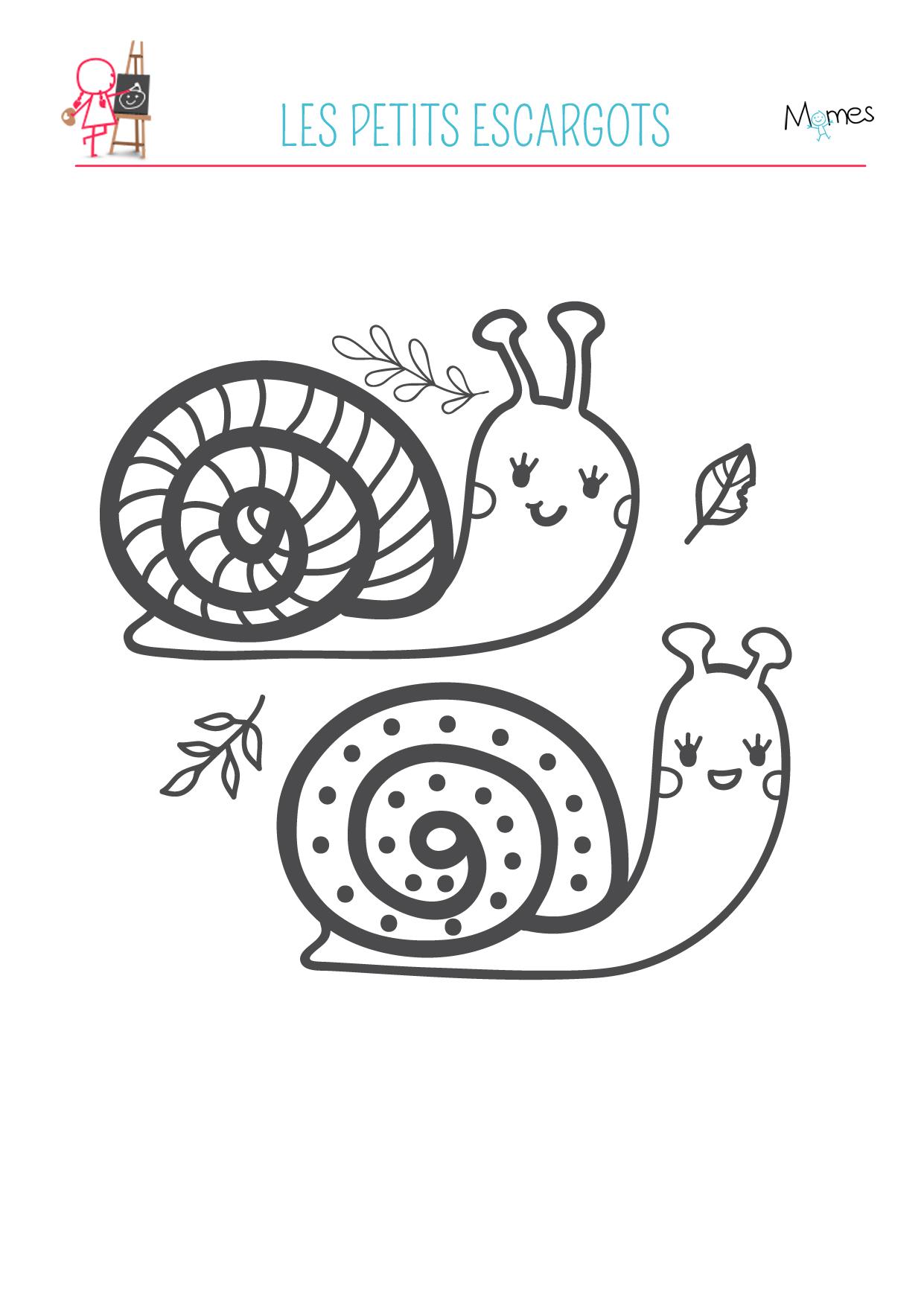 Coloriage automne mr et mme escargot - Coloriage escargot a imprimer ...