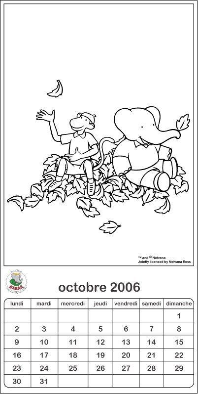 Coloriage Babar: Arthur et Zéphyr à l'automne
