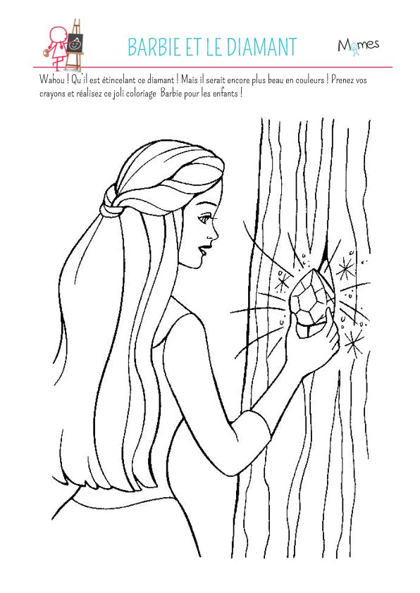 Coloriage barbie et le diamant - Dessin de barbie facile ...
