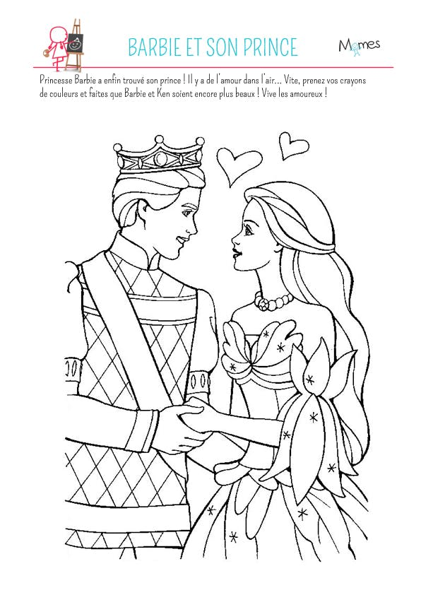 Coloriage barbie et son prince - Dessin de barbie facile ...