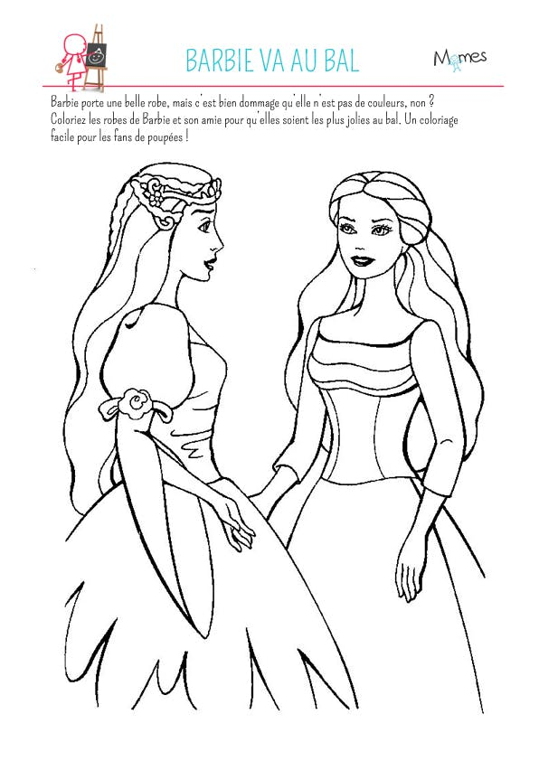 Coloriage barbie va au bal - Dessin de barbie facile ...