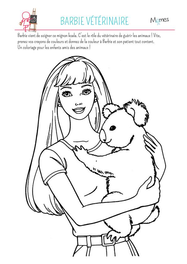 Coloriage barbie v t rinaire - Photo de barbie a imprimer ...