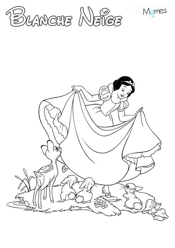 Coloriage De Princesse Blanche Neige A Imprimer.Coloriage Blanche Neige Momes Net