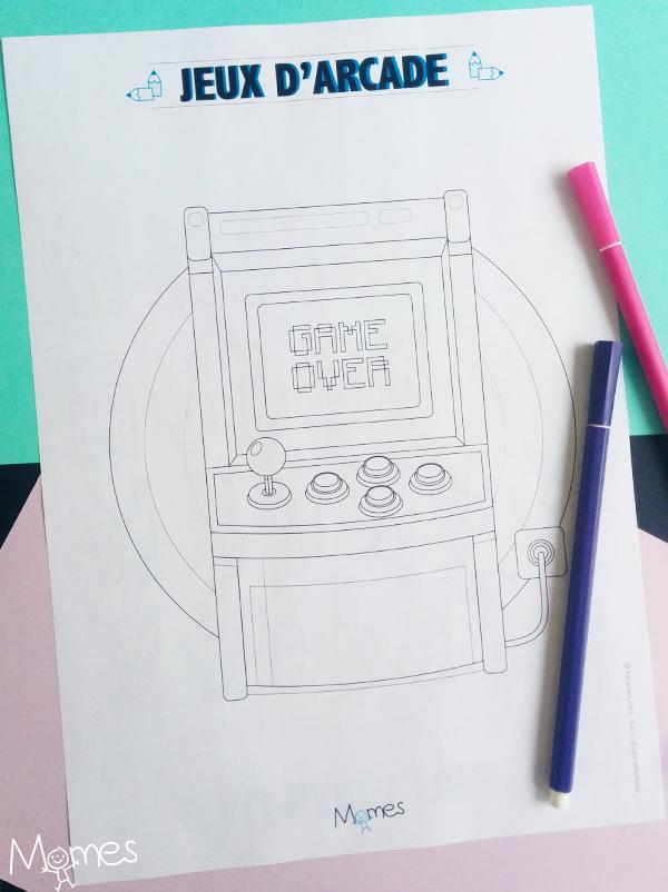 Coloriage borne arcade