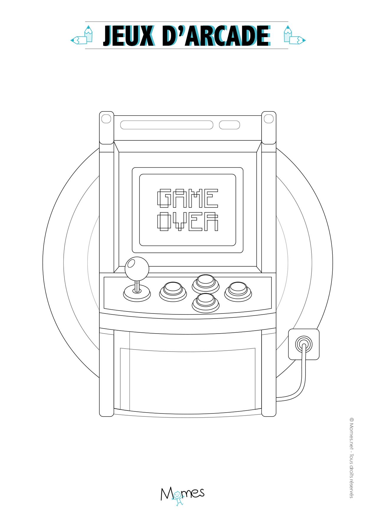Coloriage borne arcade - Jeux et coloriage ...
