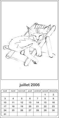 Coloriage calendrier chats 2006: juin-décembre