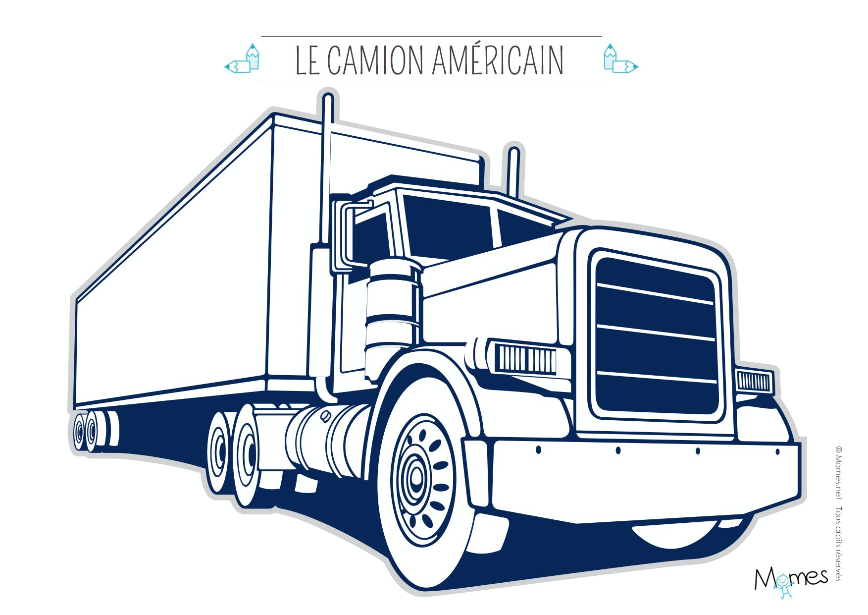 Coloriage camion 2 - Dessin camion americain ...