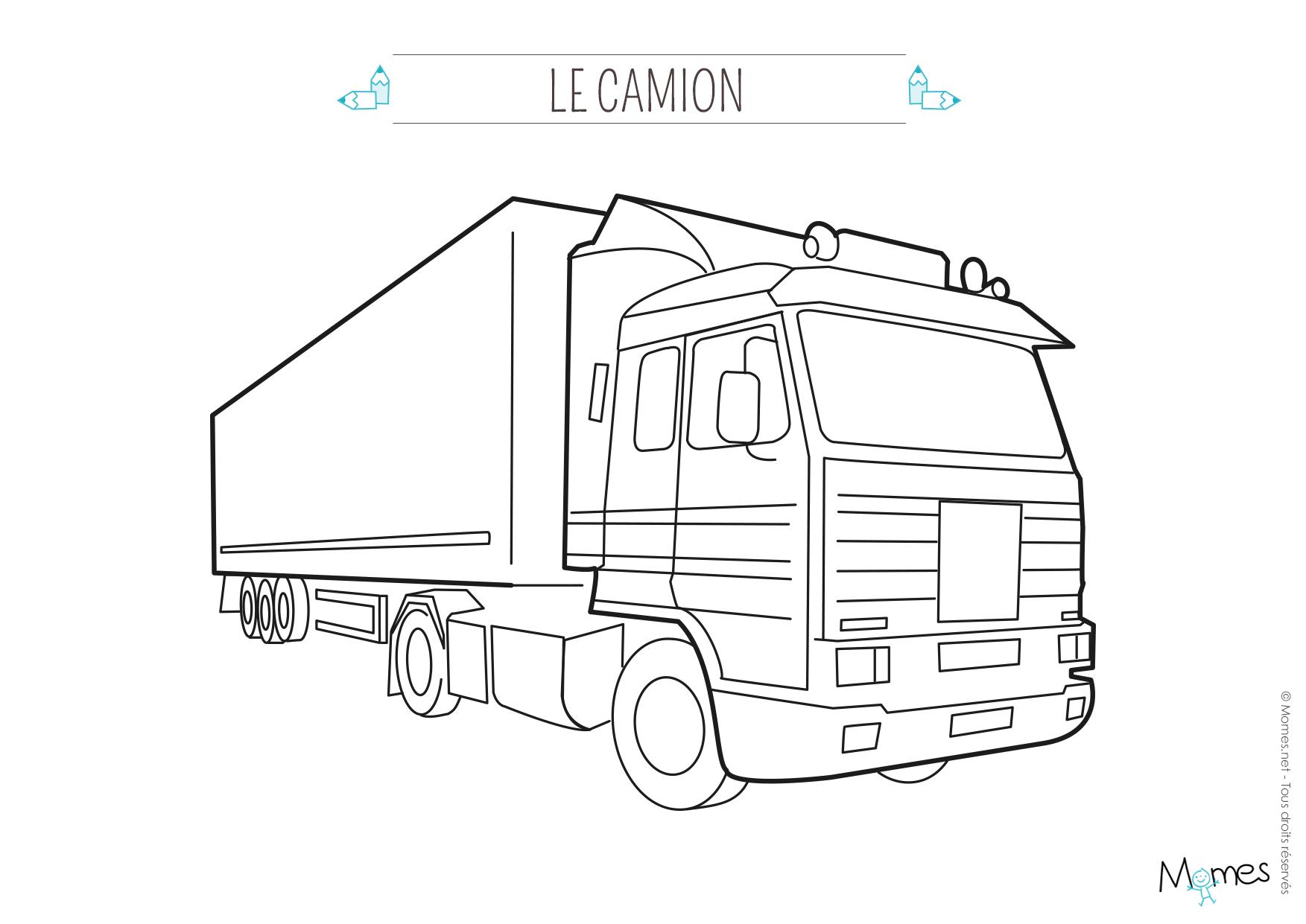 Coloriage camion 3 - Dessin de camion semi remorque ...