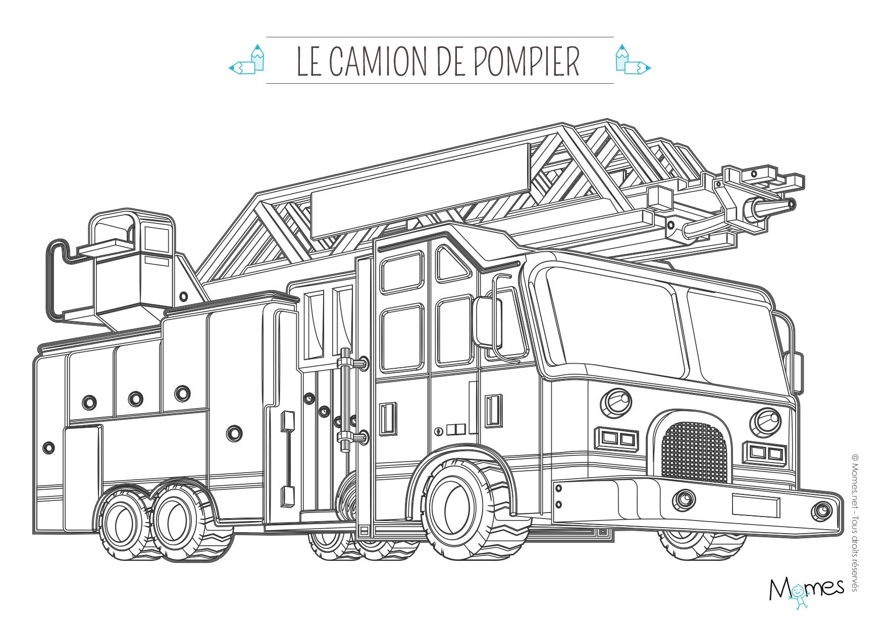 Coloriage camion de pompier avec la grande chelle - Dessiner un camion de pompier ...