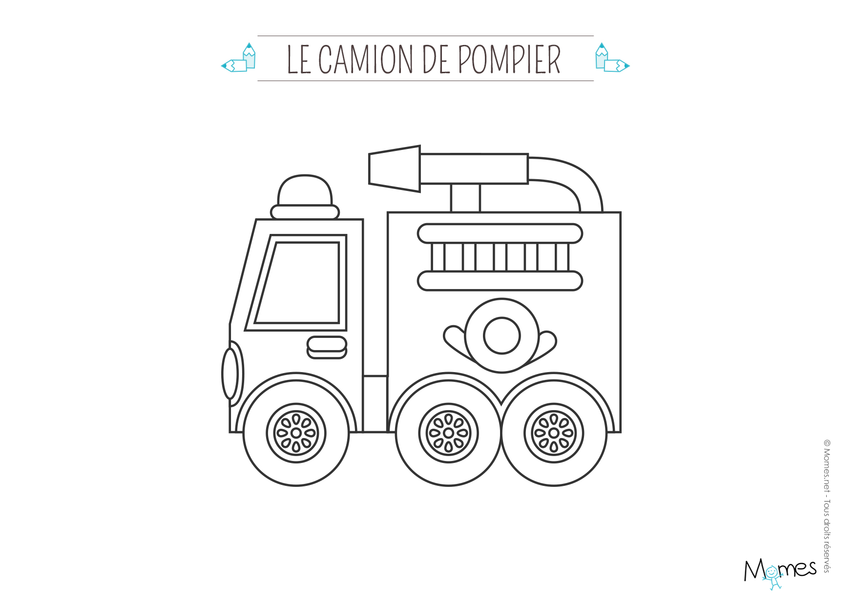 Coloriage le camion de pompier - Camion americain dessin ...