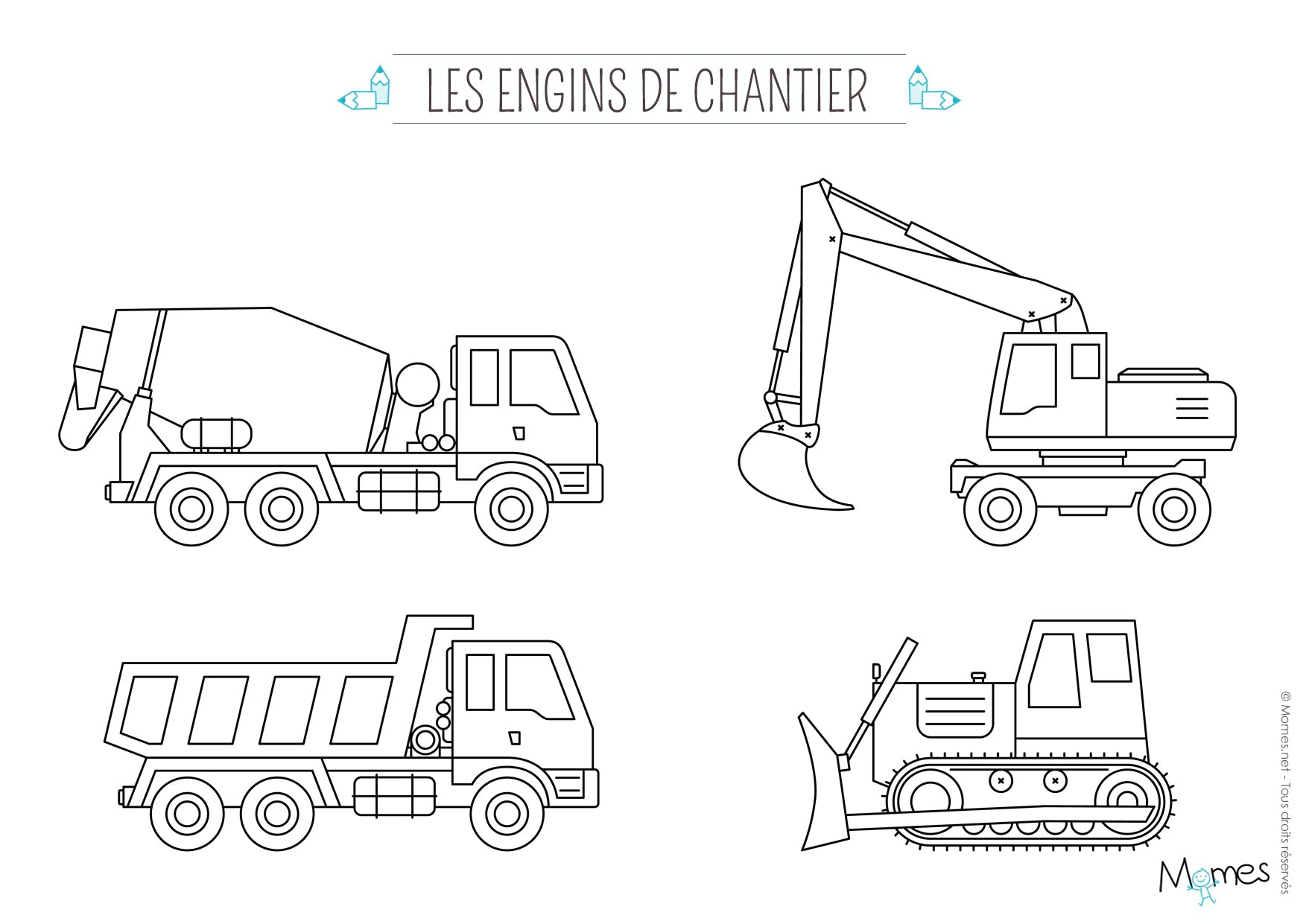 Coloriage camion for Plans et dessins de construction