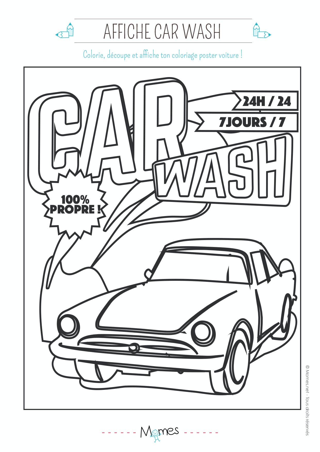 coloriage car-wash voiture