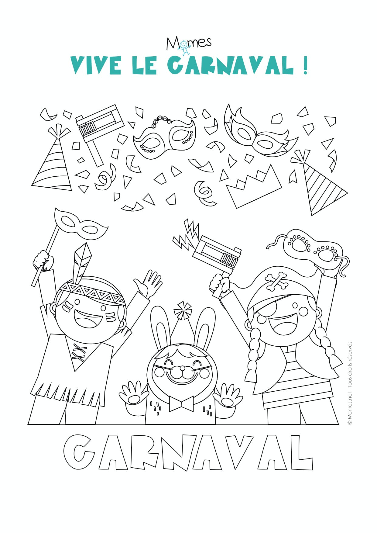 Coloriage carnaval - Momes.net