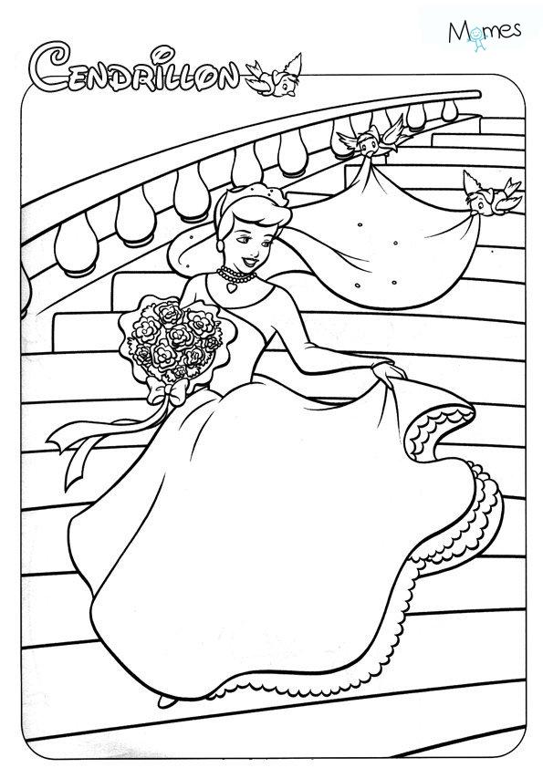 Coloriage Princesse Robe Mariee.Coloriage Cendrillon Momes Net